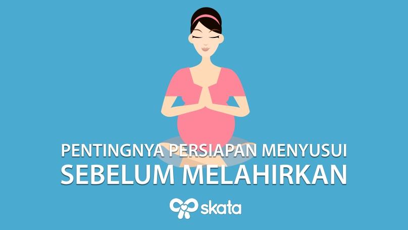 Wanita hamil berolahraga yoga mempersiapkan kelahiran